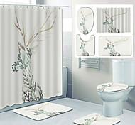 abordables -impression de motif fauve mignon rideau de douche de salle de bain toilettes de loisirs conception en quatre pièces