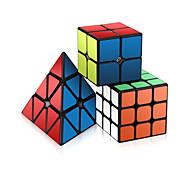 abordables -Ensemble de cubes de vitesse 3 pcs Cube magique Cube IQ 2*2*2 3*3*3 Pack Speedcubing Anti-Stress Cube casse-tête Sans étiquettes Jouets de bureau Casse-tête Pyramide Enfant Adultes Jouet Cadeau