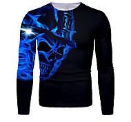 abordables -Homme T-shirt Impression 3D Graphique 3D Crânes Imprimé Manches Longues Halloween Hauts basique Bleu Roi