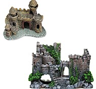 economico -acquari vintage decorazioni del castello dei cartoni animati ornamenti della torre del castello in resina accessori per acquari accessori per la decorazione della casa