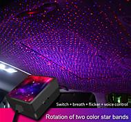 abordables -5V USB Voiture Intérieur Plafond Ambiance Lumière Double Couleur Son Activé Noël Ciel Étoilé Projecteur Auto Décoratif Lampe Ambiante