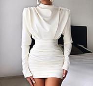 economico -Per donna Tubino Mini abito corto Bianco Manica a 3/4 Tinta unica Collage Autunno Inverno A collo alto Casuale 2021 S M L XL