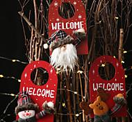 abordables -décorations de noël cintre de porte en bois dessin animé pendentif en bois créatif bonhomme de neige