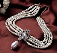 economico -Per donna Collana di perle Classico Perle finte Bianco 40+8 cm Collana Gioielli 1 pc Per Formale Festival
