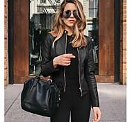 economico -Per donna Tinta unita Moderno Casuale Primavera & Autunno Giubbino Standard Quotidiano Manica lunga Cuoio Cappotto Top Nero