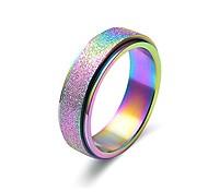 abordables -anneaux de bande de spinner de souffle de sable en acier au titane pour fiançailles de mariage noir, or rose, arc en ciel