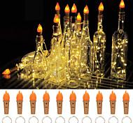 abordables -lumières de bouteille de vin avec du liège 2-10 pack 20 led torche bouteille lumières de liège lumières de fée à piles fil d'argent lampe à flamme pour la fête de bricolage décoration de table de