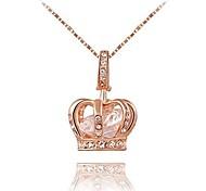 economico -Collana da donna con pendente a corona regina di gioielli 18,5 + catena da 2,16 pollici - 3 posizioni placcate in oro rosa / platino con cristalli austrain