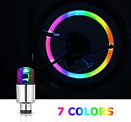 abordables -6pcs vélo valve lumière vélo valve lampe sept couleurs casquettes de pneu LED lampes flash lumière roue lumière pour voitures vélos motos