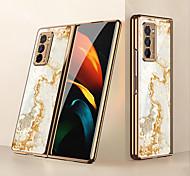 economico -telefono Custodia Per Samsung Galaxy Per retro Galaxy Z Fold 2 Resistente agli urti A prova di sporco Placcato Con onde Effetto marmo Vetro PC