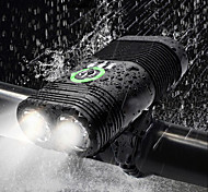 abordables -Double LED Eclairage de Velo Eclairage de Vélo Avant Phare Avant de Moto Torche Vélo Cyclisme Imperméable Rechargeable Modes multiples Super brillant USB 2400 lm Rechargeable USB Blanc Cyclisme