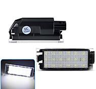 abordables -2 pièces 2 W 12 V 6500 K voiture LED numéro de plaque d'immatriculation lumière pour Renault Megane 2 Clio Laguna 2 Megane 3 Twingo Master Vel Satis