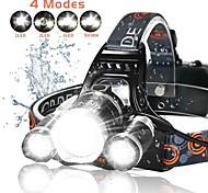 abordables -4 Lampes Frontales Torche Fonction Zoom Rechargeable 2500 lm LED 3 Émetteurs 4.0 Mode d'Eclairage avec Piles et Chargeur Fonction Zoom Rechargeable Ultra léger Jet pluie Camping / Randonnée