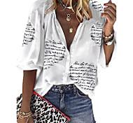 economico -Per donna Blusa Camicia Alfabetico Manica lunga A V Top Top basic Bianco