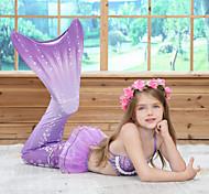 abordables -Enfants Fille Maillot de Bain Bikini 3 pièces Maillot de bain Petite Sirène Maillots de Bain Géométrique Bleu Violet Rouge Actif Le style mignon Maillots de bain 3-10 ans