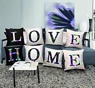 abordables -taie d'oreiller avec LED lettres lumineuses oreiller housse de coussin pour cadeau de noël maison canapé bureau café oreiller décoration 45x45 cm