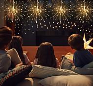 economico -480 led fuochi d'artificio luci led filo di rame starburst stringa luci 1 13 tasti telecomando 2 pz 1 pz bianco caldo multicolore halloween natale impermeabile decorativo esterno alimentato usb