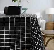 abordables -Nappe en lin coton nappe à carreaux littéraire art gris petit rectangle frais