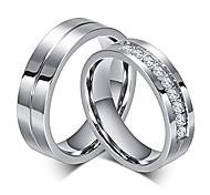 economico -coppia anelli per lui e lei anello di promessa di corrispondenza in acciaio inossidabile taglio principessa fascia di fidanzamento nuziale da sposa zirconia cubica cz anello per le donne gli uomini amano i gioielli da sposa regali delle ragazze