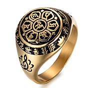 abordables -hommes femmes lotus sanskrit mantra gravé anneaux de bande, anneaux porte-bonheur en acier inoxydable