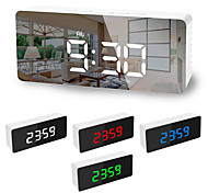 abordables -LED lumière miroir réveil avec gradateur sieste température fonction pour bureau chambre voyage horloge numérique décor à la maison