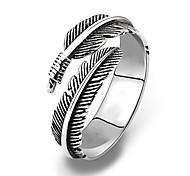 economico -anello vintage piuma acciaio inossidabile 316l involucro argento nero unisex per uomo donna
