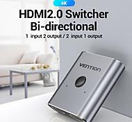 abordables -Commutateur HDMI 4K 2 ports Le séparateur de commutateur HDMI bidirectionnel 1x2 / 2x1 prend en charge Ultra HD 4K 1080p 3D HDR HDCP pour PS4 HDTV