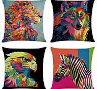 economico -set di 4 fodere per cuscini decorativi quadrati di lino animali moda fodere per cuscini per divani 18x18