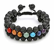 abordables -jovivi 7 chakra bracelet multi-couche obsidienne noire lave pierre de roche diffuseur d'huile essentielle bracelet perles de yoga naturelles cristaux d'énergie de guérison bracelet extensible