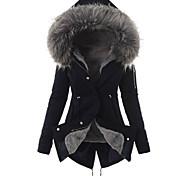 abordables -Femme Couleur Pleine basique Automne hiver Manteau Longue Quotidien Manches Longues Coton Manteau Hauts Noir