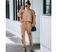 abordables -Femme basique Couleur unie Casual Quotidien Ensemble deux pièces Survêtement T-shirt Pantalon Vêtements d'intérieur Cordon Troué Hauts
