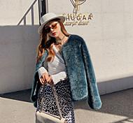 economico -Per donna Tinta unita Essenziale Autunno inverno Cappotto di pelliccia sintetica Corto Feste Manica lunga Pelliccia sintetica Cappotto Top Verde