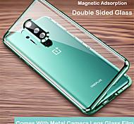 economico -telefono Custodia Per OnePlus Integrale Custodia ad adsorbimento magnetico OnePlus 8 Pro OnePlus 8 A specchio Doppia setola Protezione per obiettivo della fotocamera Tinta unita Vetro temperato