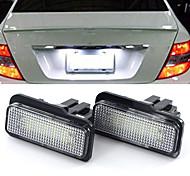 abordables -2 pièces 2W 12V 6500K LED ampoule de plaque d'immatriculation pour Mercedes Benz W203 W211 W219 R171