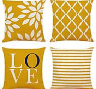 abordables -lot de 4 simples géométriques imprimé floral lin carré décoratif taies d'oreiller canapé housses de coussin 18x18