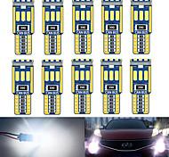 abordables -10 pcs W5W T10 Voiture Intérieur Lumière Canbus 194501 LED 9 4014 SMD Instrument Lumières Ampoule Lampe Dôme Lumière Aucune Erreur 12V 6000K