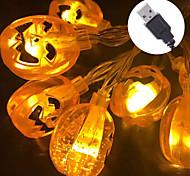 abordables -lumières de citrouille d'halloween 10-50 LED guirlandes d'halloween à batterie ou lumières de jack-o-lanterne 3d à commande USB imperméables pour les décorations d'halloween fête intérieure en plein