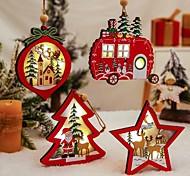 abordables -pendentifs en bois ornements arbre de noël étoile voiture cadeau décoration 4pcs 1pc led lumière suspendue noël bois artisanat enfants cadeau pour le nouvel an décoration de fête à la maison