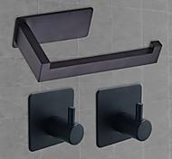 abordables -Ensemble d'accessoires de salle de bain auto-adhésifs de 3 m en acier inoxydable avec porte-mouchoirs et 2 crochets pour peignoir noir mat argent brossé