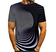 abordables -Homme T-shirt Impression 3D Graphique Abstrait 3D Grandes Tailles Imprimé Manches Courtes Quotidien Hauts Noir / Blanc Violet Jaune
