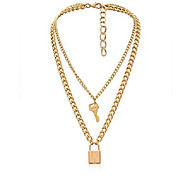economico -Collana con ciondolo a chiave con lucchetto Collana con girocollo a catena lunga punk multistrato per donna uomo (tono dorato)