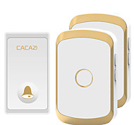 abordables -Cacazi étanche sonnette sans fil auto-alimentée sans batterie LED lumière maison sonnette sans fil 1 bouton 2 récepteur