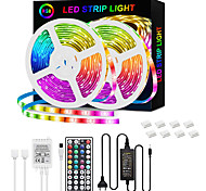 abordables -bandes LED 32.8ft-10m bande rgb 5050 30led / m 2835 60 / m bandes de 10mm lumières de bande LED changeantes de couleur avec télécommande pour l'éclairage de la maison lit de cuisine bandes flexibles