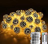 economico -luci di natale all'aperto fai da te scatola di batteria aa impermeabile luci di stringa strand metal illuminazione marocchina 30-50 led ornamento ha condotto le luci stagionali della corda per la