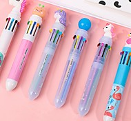 abordables -4pcs stylos avec des modèles multicolores stylo à bille multicolore type poussoir stylo papeterie école outils de bureau stylo drôle couleur aléatoire