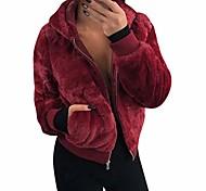 economico -giacca con cappuccio in pile caldo da donna giacca con cappuccio in morbida pelliccia sintetica con zip fuzzy sherpa con 2 tasche rosso