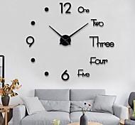 economico -orologio da parete moda fai da te plastica metallo acrilico acciaio inossidabile rotondo interno / esterno (100 cm x 100 cm)