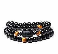 abordables -Perle de pierre d'obsidienne en cristal naturel avec bracelet oeil de tigre 8mm multi-cercle dragon totem dames hommes bijoux (oeil de tigre)