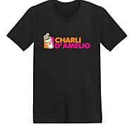 abordables -Inspiré par Cosplay Charli D'Amelio Manches Ajustées Mélangé polyester / coton Imprimés Photos Imprimé Tee-shirt Pour Femme / Homme