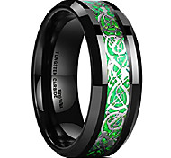 abordables -Dragon hommes 8mm vert fibre de carbone argent celtique dragon bague en carbure de tungstène confort ajustement bande de mariage 6.5